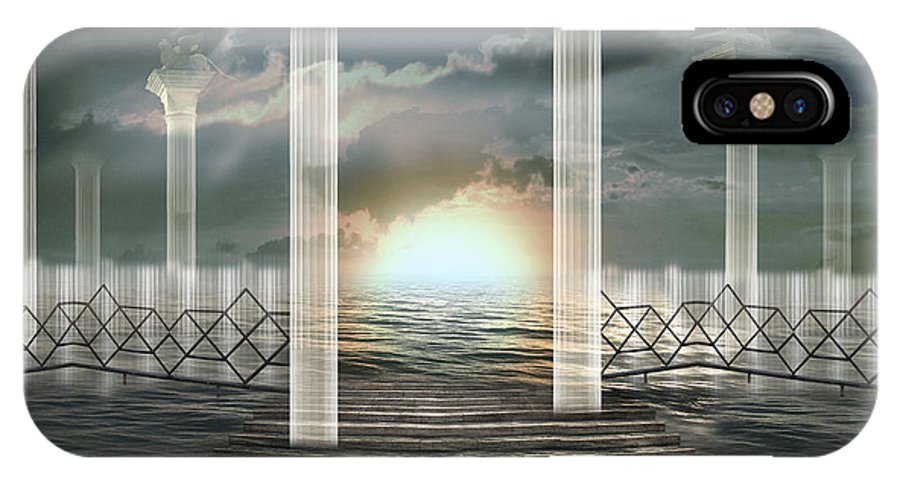 Surrealism Pillar Crystal Dream Ethereal Legend Light Lucent Shining Sunrise Timeless Italy History IPhone X Case featuring the photograph Atomic rise by Desislava Draganova