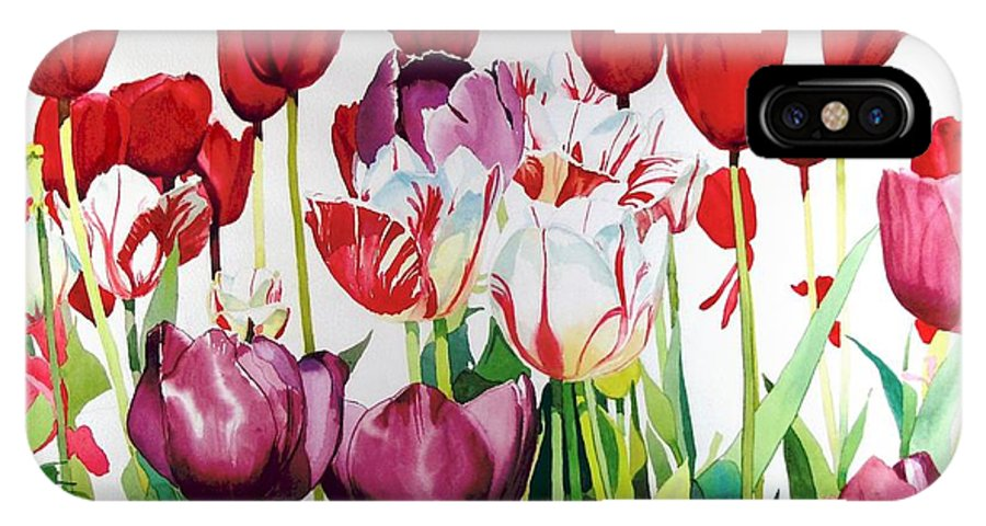 Tulips IPhone X Case featuring the painting Attention by Elizabeth Carr