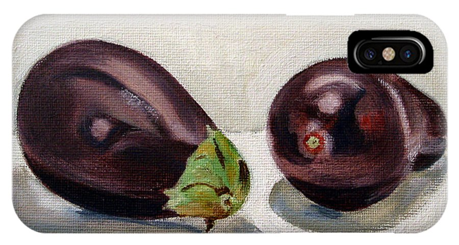 Still-life IPhone X / XS Case featuring the painting Aubergines by Sarah Lynch