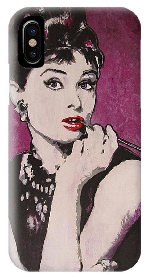 Audrey Hepburn May 4 1929 - Jan 20 1993 . Moon River. Breakfast At Tiffany's. IPhone X Case featuring the painting Audrey Hepburn - Breakfast by Eric Dee