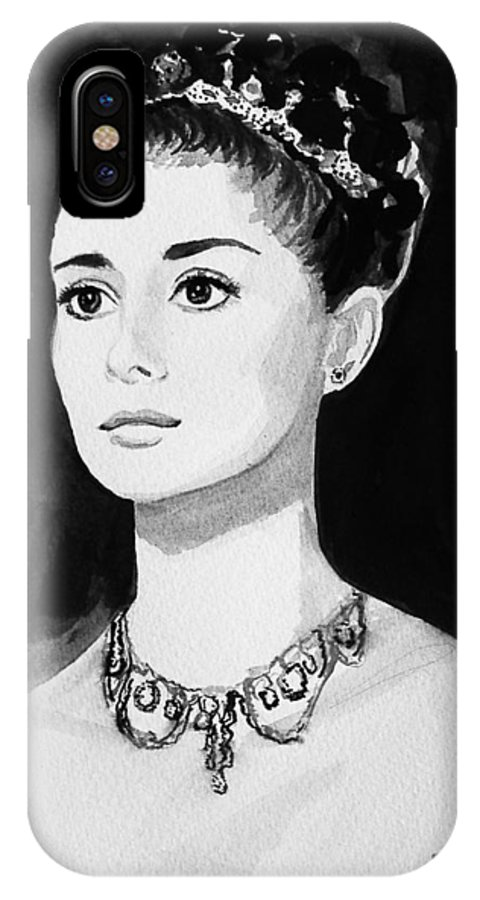 Audrey Hepburn IPhone Case featuring the painting Audrey by Laura Rispoli
