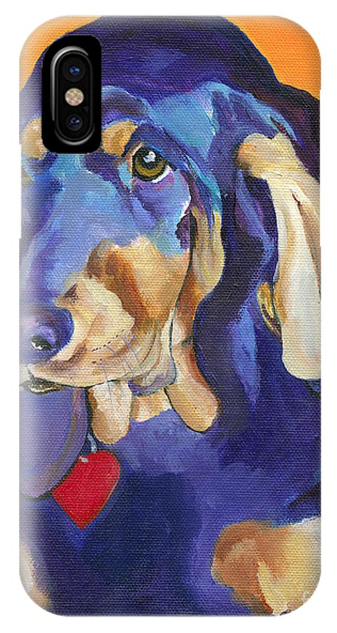Bloodhound IPhone Case featuring the painting Augie by Pat Saunders-White
