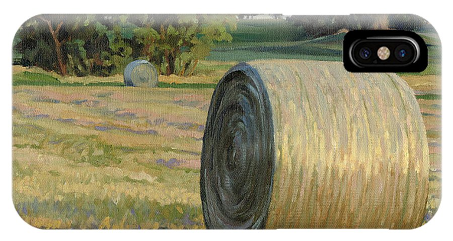 Landscape IPhone Case featuring the painting August Bales by Bruce Morrison