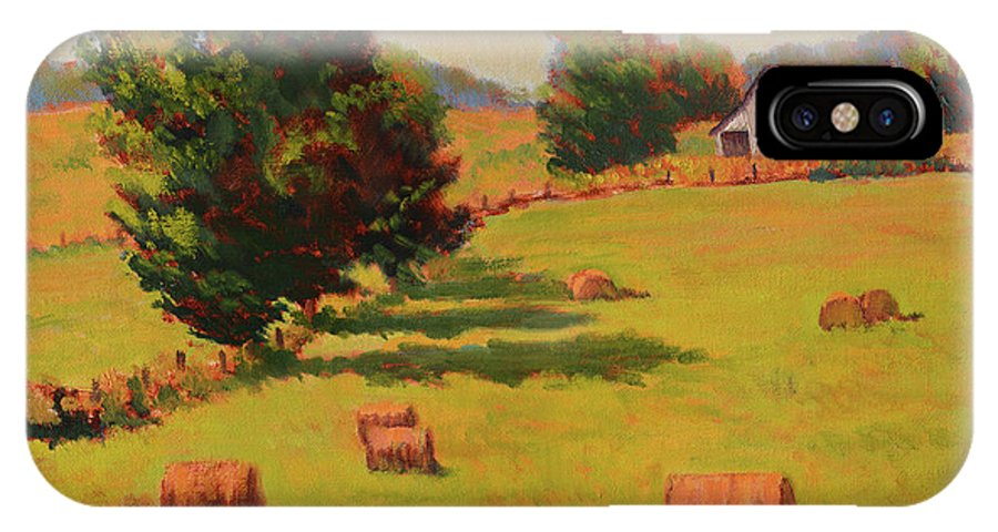Impressionism IPhone X / XS Case featuring the painting August Hay Field by Keith Burgess