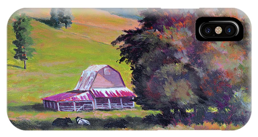 Impressionism IPhone X / XS Case featuring the painting August Pastures by Keith Burgess