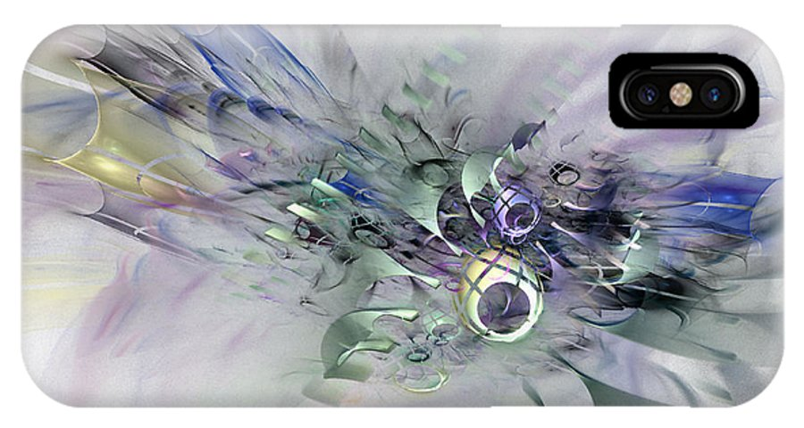 Contemporary Abstract Art IPhone X Case featuring the digital art August Silk - Fractal Art by Nirvana Blues