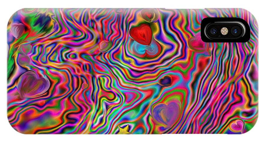 Psychedelic IPhone X Case featuring the painting Aura Lights by Roxy Riou