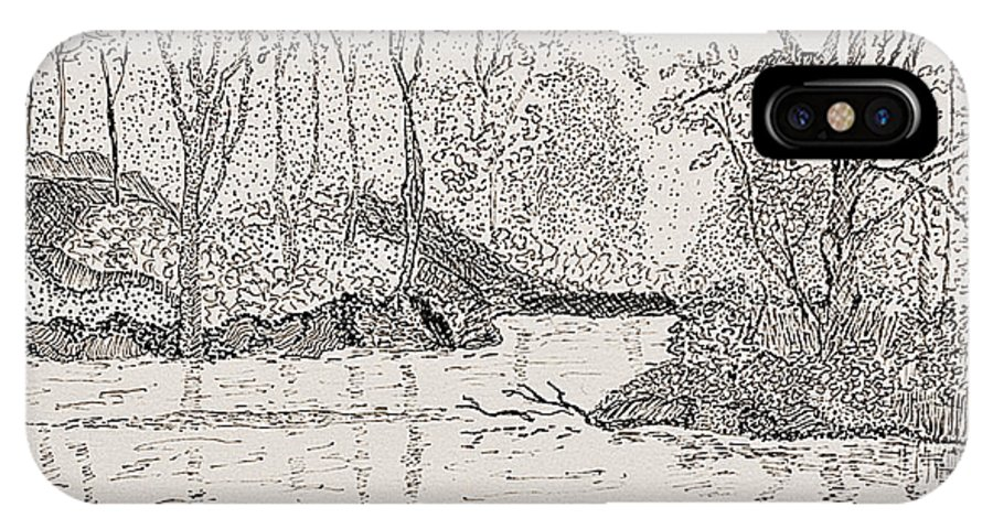 River IPhone X / XS Case featuring the drawing Ausable River At Rock Glen by Peggy King