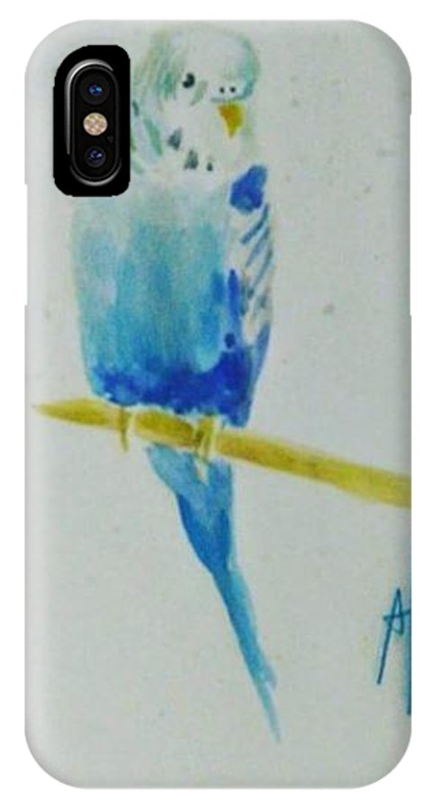 Australian Parrot Watercolor IPhone X Case featuring the painting Austalian Parrot by Alexandre Veloso