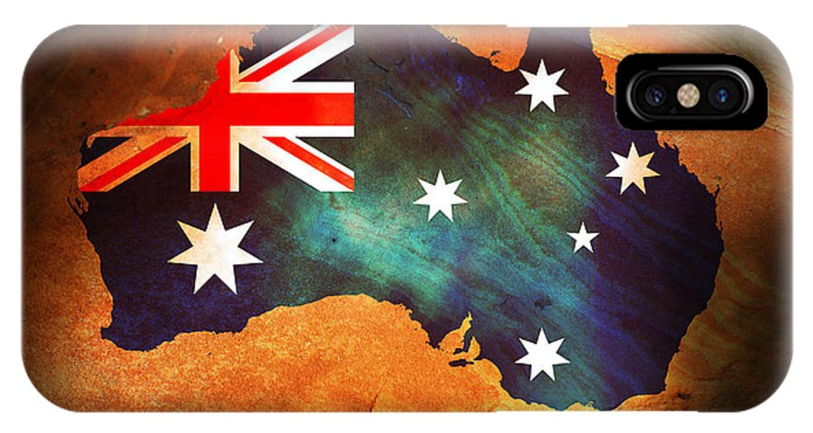 Australia IPhone X Case featuring the photograph Australian Flag On Rock by Phill Petrovic