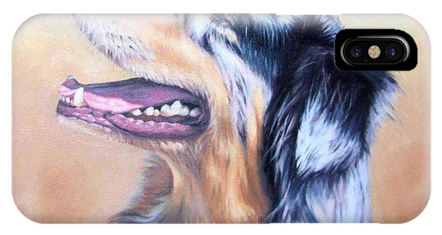 Dog IPhone Case featuring the painting Australian Shepherd Dog by Nicole Zeug