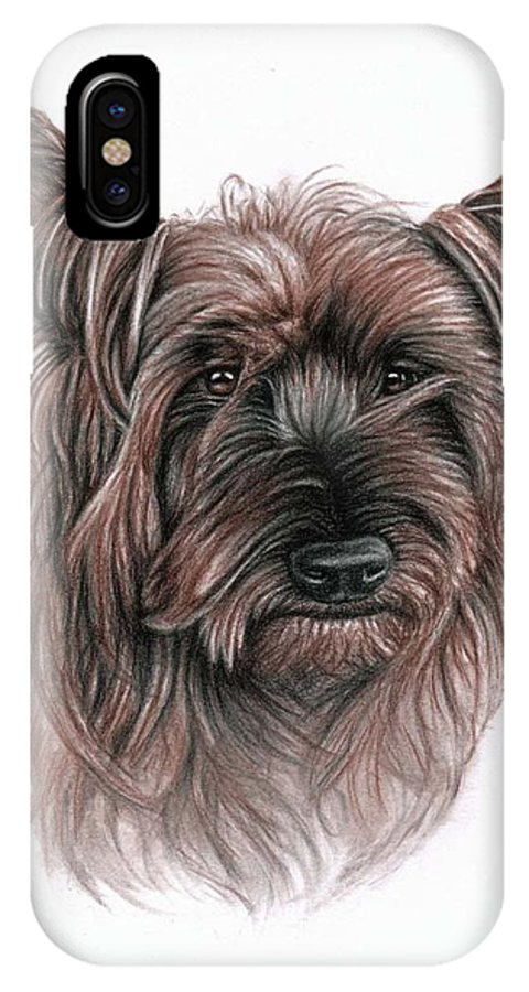 Dog IPhone X Case featuring the drawing Australian Terrier by Nicole Zeug