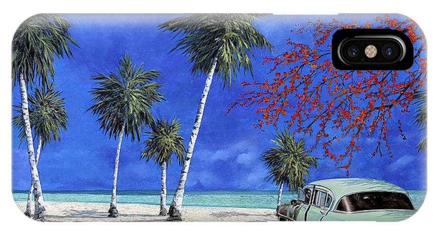 Seacsape IPhone X Case featuring the painting Auto Sulla Spiaggia by Guido Borelli