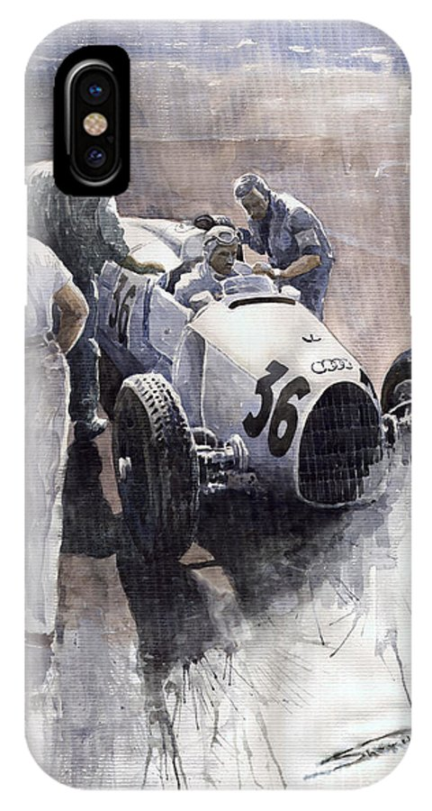 Auto IPhone X Case featuring the painting Auto Union B Type 1935 Italian Gp Monza B Rosermeyer by Yuriy Shevchuk