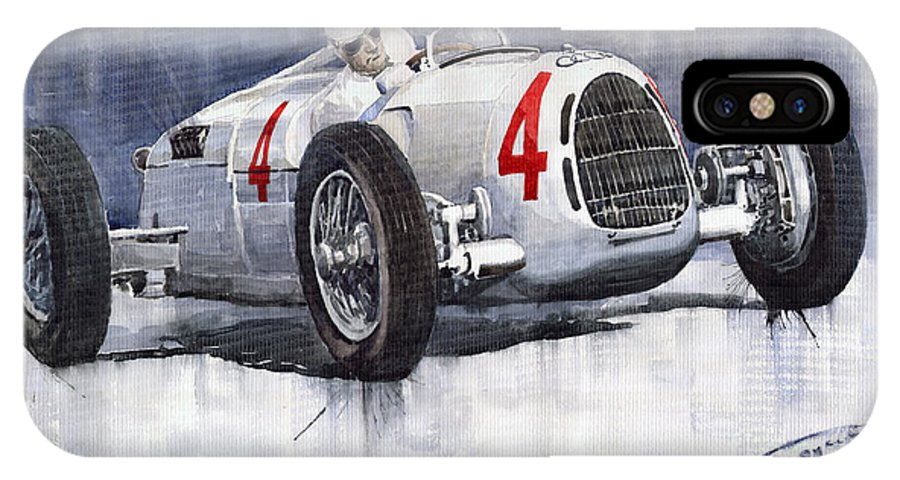 Auto IPhone X Case featuring the painting Auto Union C Type 1937 Monaco Gp Hans Stuck by Yuriy Shevchuk