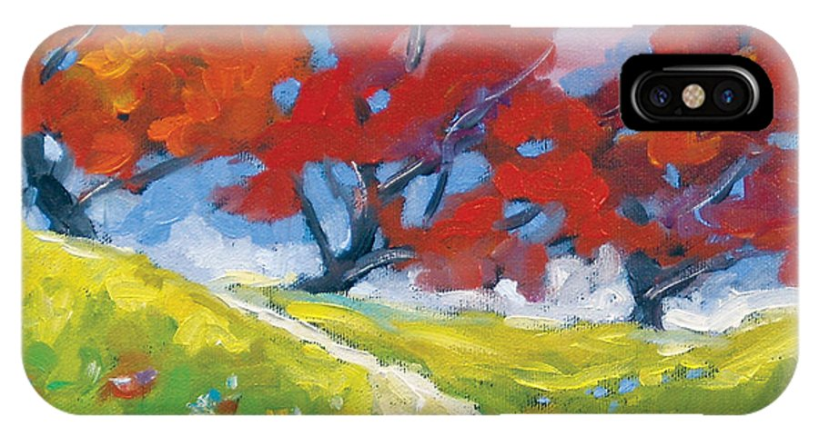 Art IPhone X Case featuring the painting Automn Trees by Richard T Pranke
