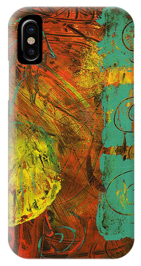 Autumn IPhone X Case featuring the painting Autumen Abstract by Wayne Potrafka