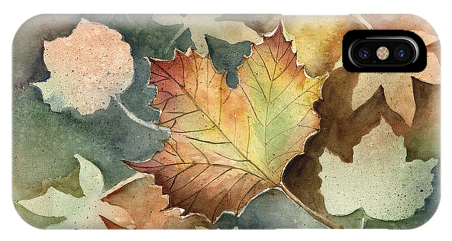 Leaf IPhone X Case featuring the painting Autumn Again by Arline Wagner