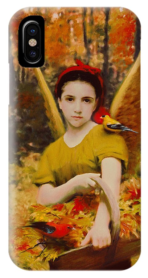 Angel IPhone X Case featuring the painting Autumn Angels by Stephen Lucas