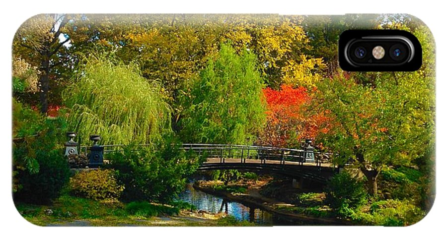 St Louis Missouri IPhone X Case featuring the photograph Autumn At Lafayette Park Bridge Landscape by Debbie Fenelon
