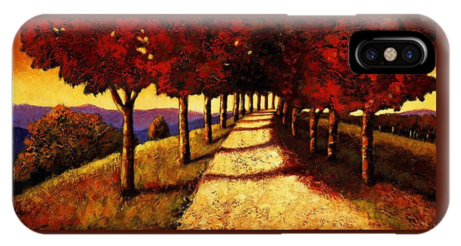 Impressionism Landscape IPhone X Case featuring the painting Autumn Avenue by Santo De Vita