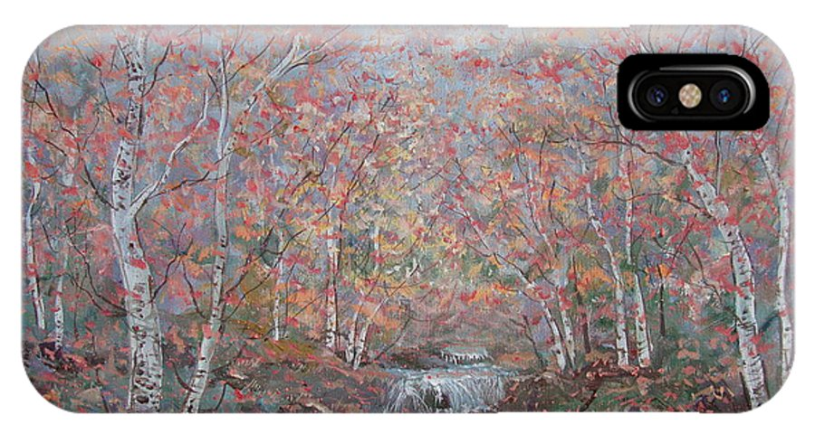 Landscape IPhone X Case featuring the painting Autumn Birch Trees. by Leonard Holland