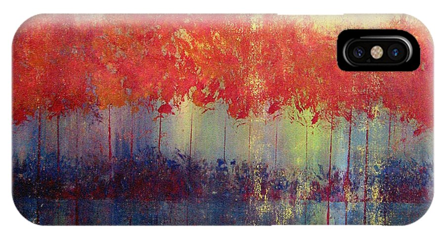 Abstract IPhone X Case featuring the painting Autumn Bleed by Ruth Palmer