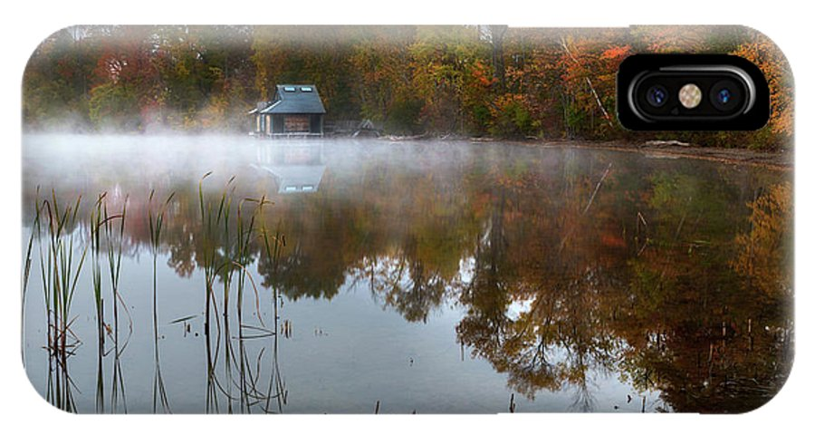 Autumn IPhone X Case featuring the photograph Autumn Boathouse by Bill Wakeley