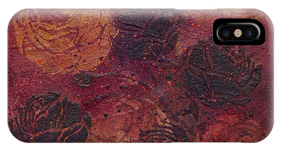 Abstract IPhone X Case featuring the painting Autumn Bouquet by Julie Acquaviva Hayes