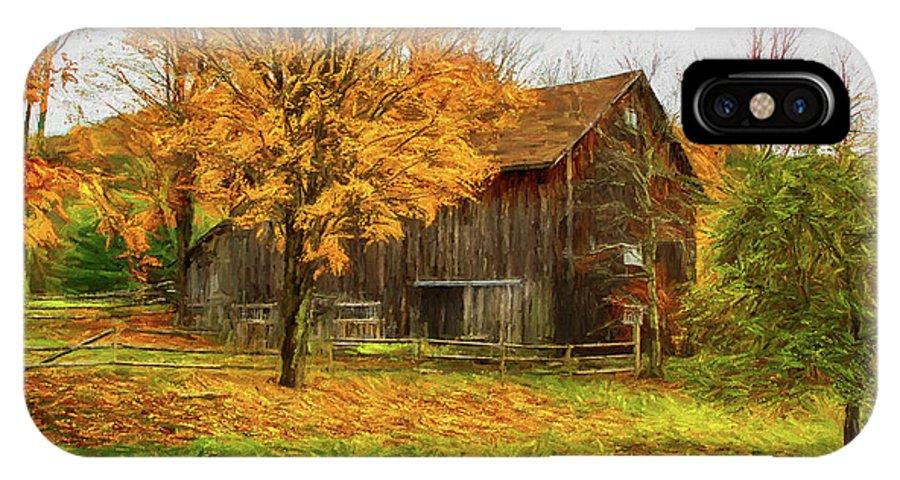 Autumn IPhone X Case featuring the painting Autumn Catskill Barn by Deborah Benoit