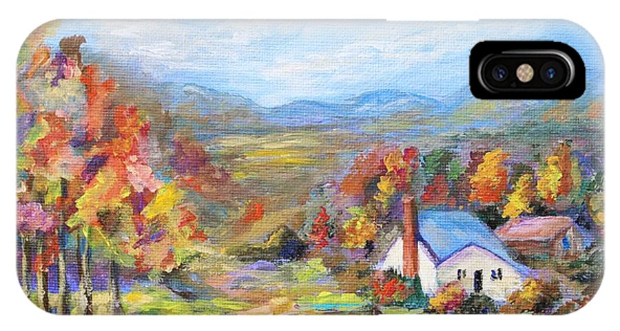 Autumn IPhone X Case featuring the painting Autumn Cottage by Nadia Bindr