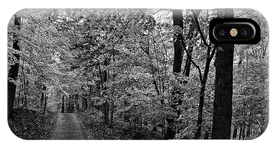 Autumn IPhone X Case featuring the photograph Autumn Drive Bnw by Bonfire Photography