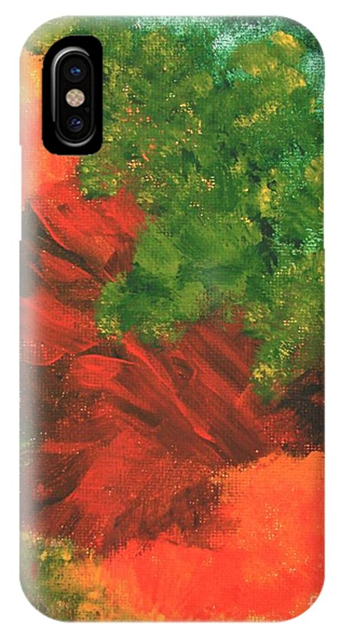 Abstract IPhone X Case featuring the painting Autumn Equinox by Itaya Lightbourne