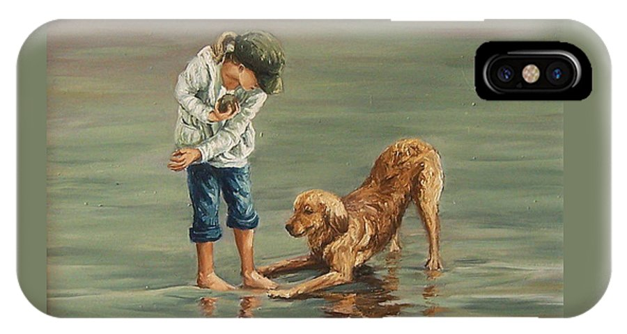 Girl Kid Child Figurative Dog Sea Reflection Playing Water Beach IPhone X Case featuring the painting Autumn Eve by Natalia Tejera