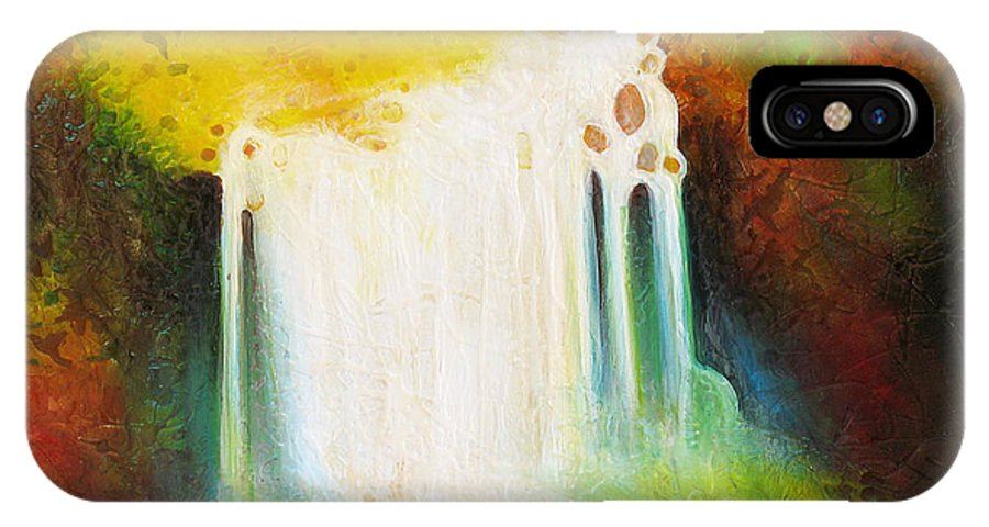 Waterfalls IPhone X Case featuring the painting Autumn Falls by Jaison Cianelli