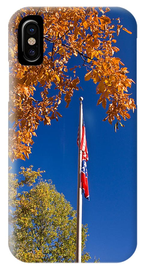 Flag IPhone X / XS Case featuring the photograph Autumn Flag by Douglas Barnett