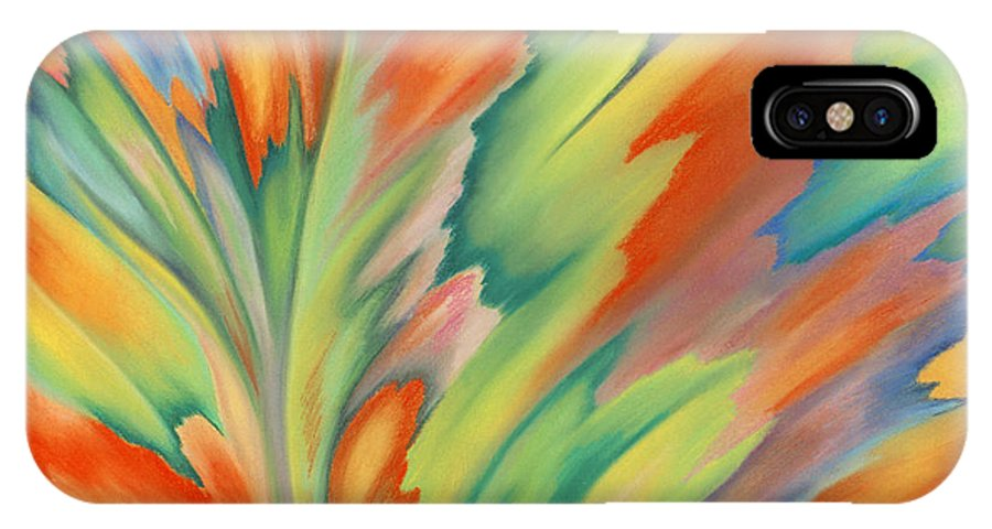 Abstract IPhone X Case featuring the painting Autumn Flame by Lucy Arnold