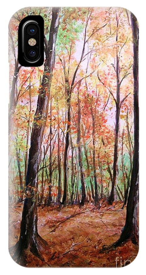 Landscape IPhone X Case featuring the painting Autumn Forrest by Lizzy Forrester