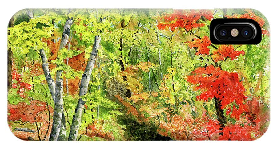 Autumn IPhone X Case featuring the painting Autumn Fun by Mary Tuomi