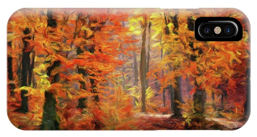 Landscape IPhone X Case featuring the painting Autumn Glow by Sarah Kirk