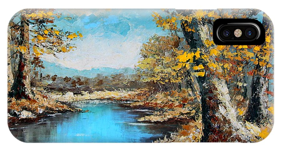 Autumn IPhone X Case featuring the painting Autumn Gold by Karon Melillo DeVega