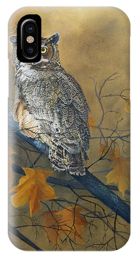Owls IPhone X Case featuring the painting Autumn Highlights - Great Horned Owl by Johanna Lerwick