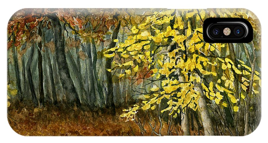 Landscape IPhone Case featuring the painting Autumn Hollow I by Mary Tuomi