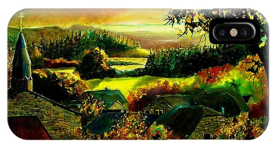 Landscape IPhone X Case featuring the painting Autumn In Our Village Ardennes by Pol Ledent