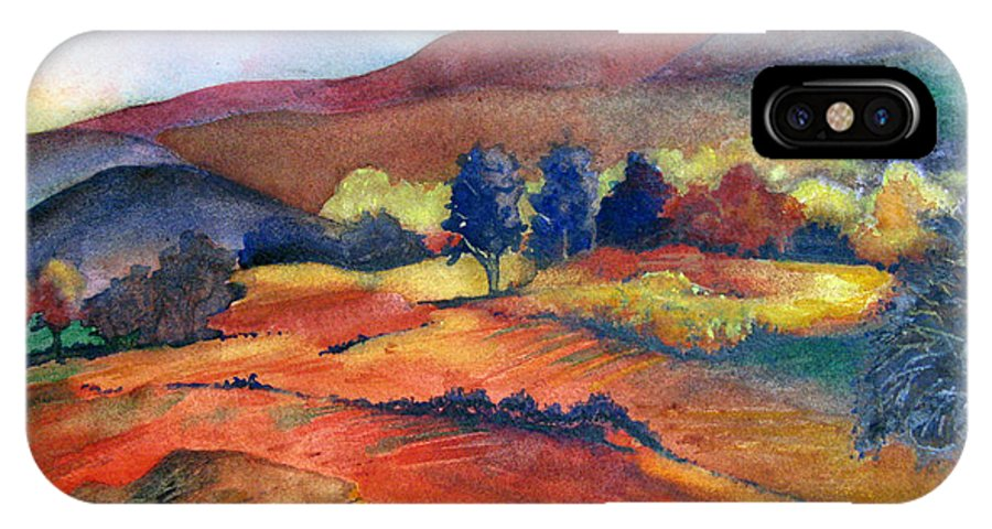 Landscape IPhone X Case featuring the painting Autumn In The Country by Karen Stark