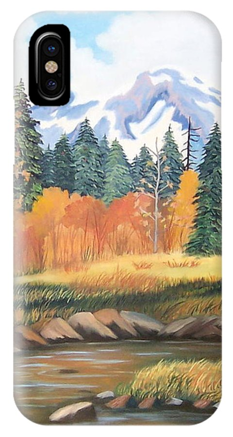 Landscape IPhone X Case featuring the painting Autumn In The Mountans by Ruth Housley