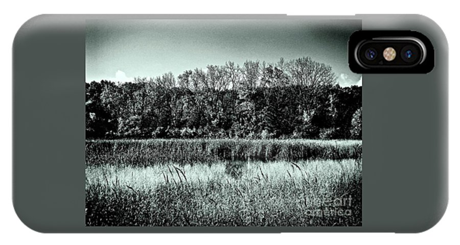 Photography IPhone X Case featuring the photograph Autumn In The Wetlands - Black And White by Frank J Casella