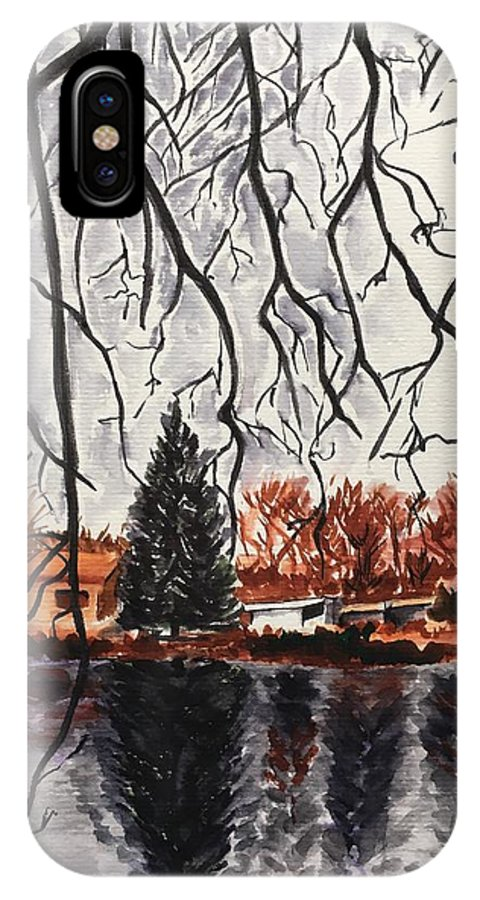 Landscape IPhone X Case featuring the painting Autumn in Upstate by Judy Swerlick