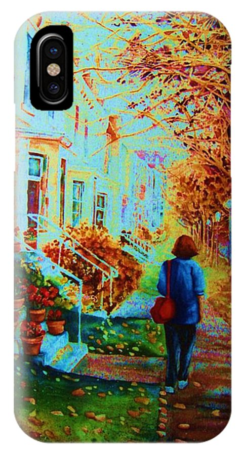 Montreal IPhone X Case featuring the painting Autumn In Westmount by Carole Spandau