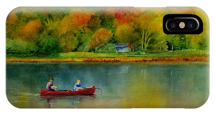 New England IPhone X Case featuring the painting Autumn by Karen Fleschler